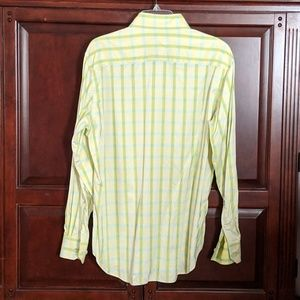 Bugatchi Shirts - Bugatchi Yellow and Green Striped Button Down L